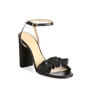 Chloe Kent Ruffled Leather Ankle Strap Heels